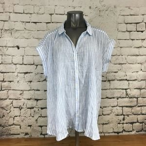 Old Navy Women's Top Button Up Collared Short Sleeve Blue White Stripe Size 2X
